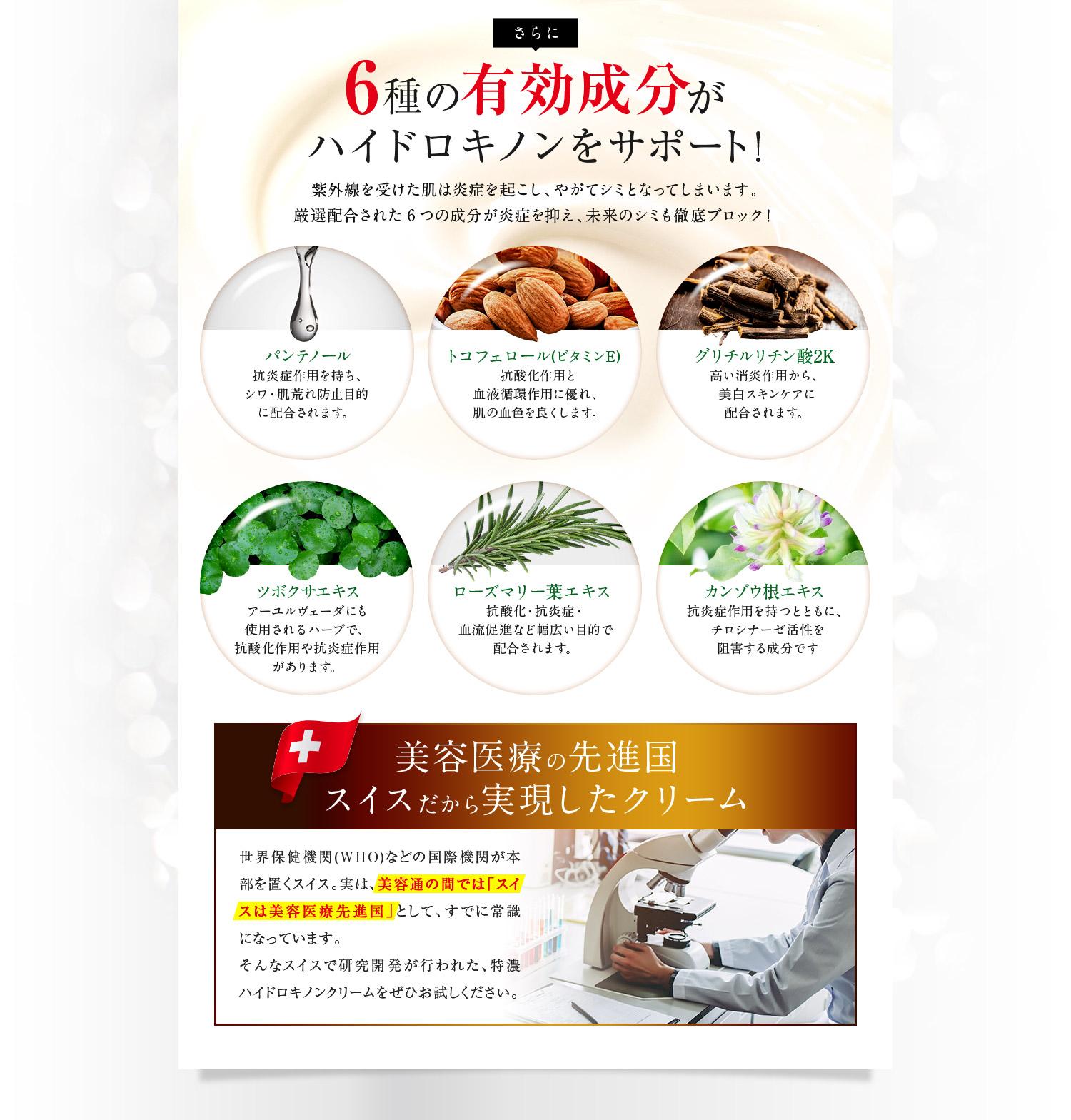 6種の美白成分がハイドロキノンをサポート!